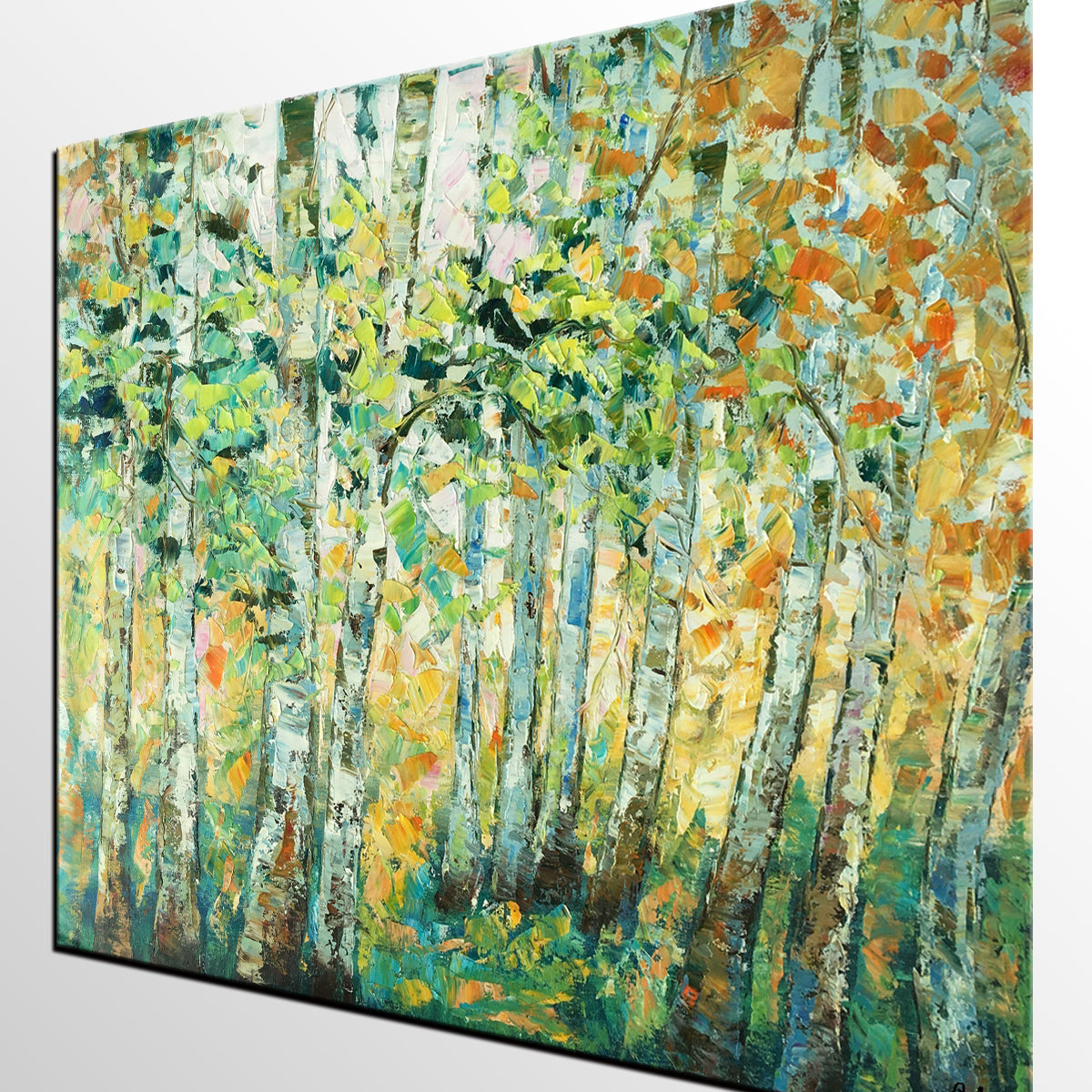 Autumn Tree Painting, Original Wall Art, Landscape Painting, Heavy Texture Wall Art