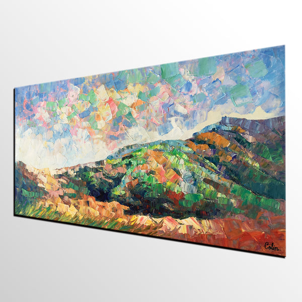 Mountain Abstract Art, Abstract Painting, Bedroom Wall Art, Original Artwork, Canvas Painting