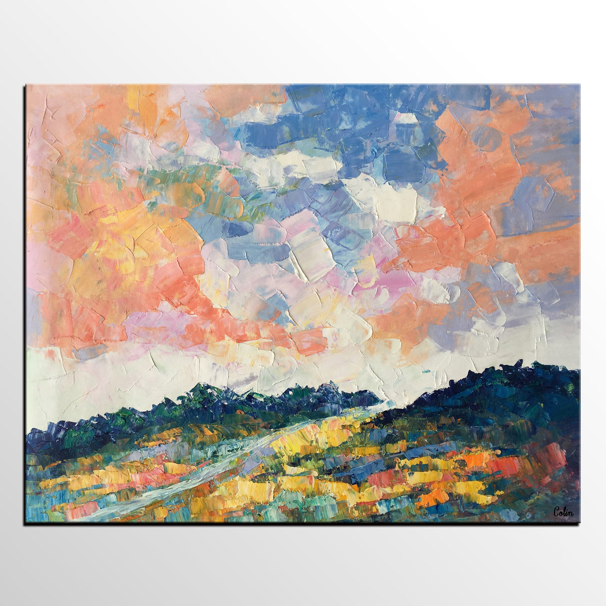 Canvas Oil Painting, Landscape Art, Mountain Sky Painting, Modern Art, Abstract Art, Large Abstract Painting, Original Art
