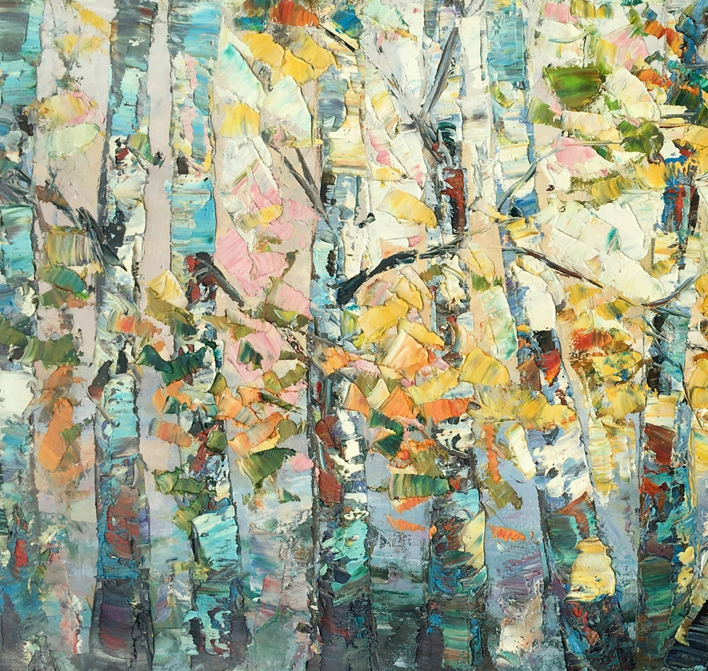 Canvas Art, Autumn Birch Tree Painting, Abstract Landscape Painting, Abstract Art Painting, Custom Canvas Painting
