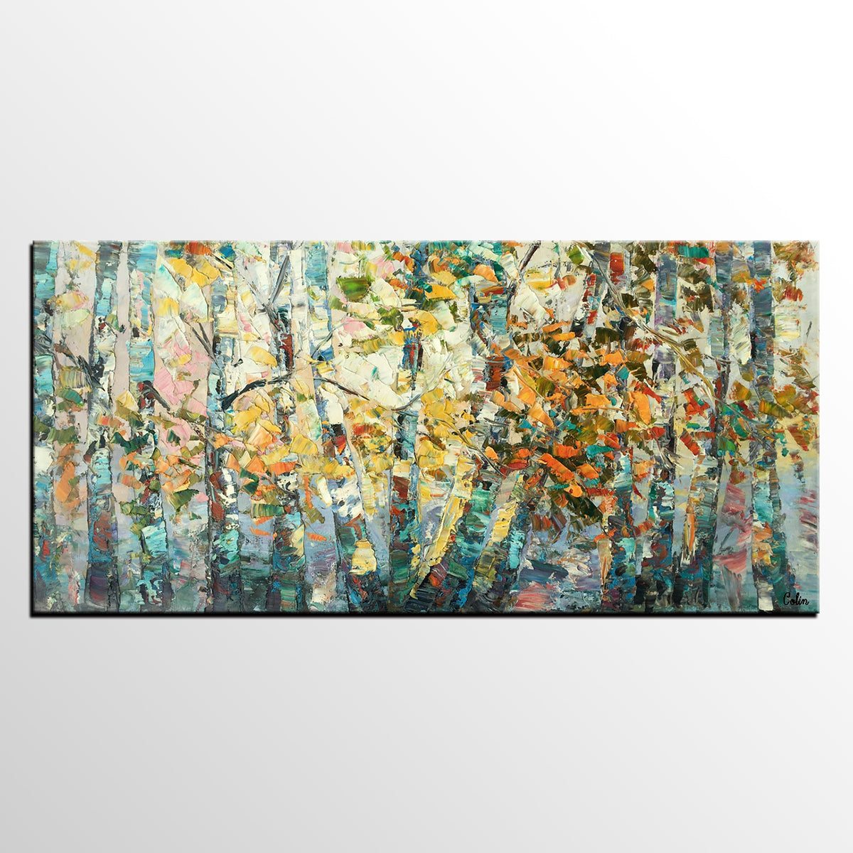 Canvas Art, Autumn Birch Tree Painting, Abstract Landscape Painting, Abstract Art Painting, Custom Canvas Painting - artworkcanvas