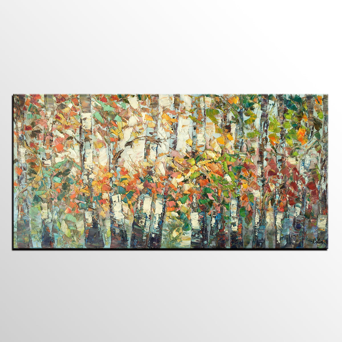 Landscape Painting, Autumn Birch Tree Painting, Large Wall Art, Oil Painting, Abstract Painting, Canvas Painting