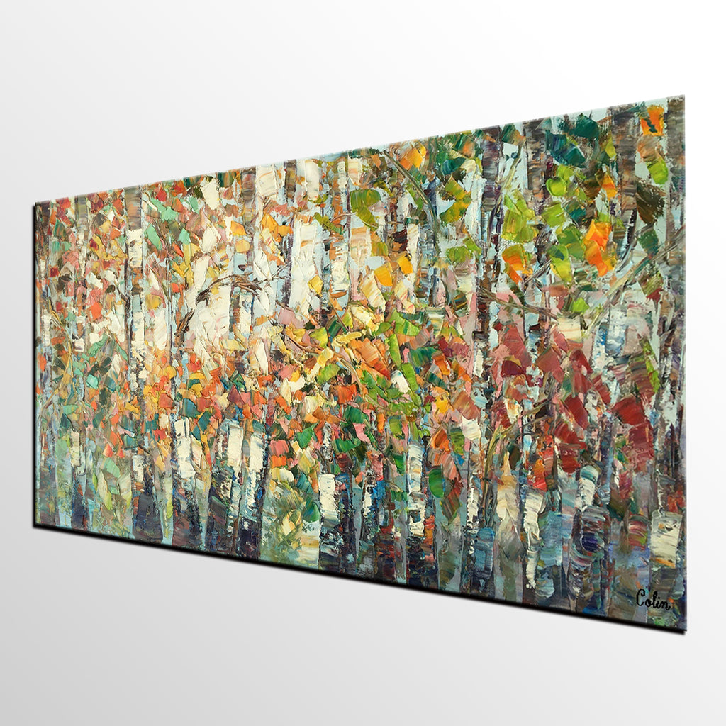 landscape painting autumn birch tree painting large wall art oil