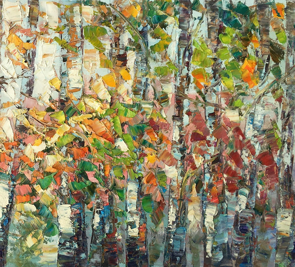Landscape Painting, Autumn Birch Tree Painting, Custom Large Wall Art, Oil Painting, Canvas Painting