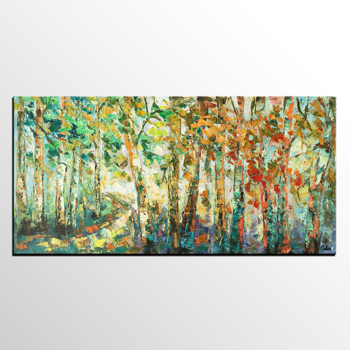 Birch Tree Painting, Abstract Painting, Original Art, Contemporary Art, Wall Art, Canvas Painting, Oil Painting