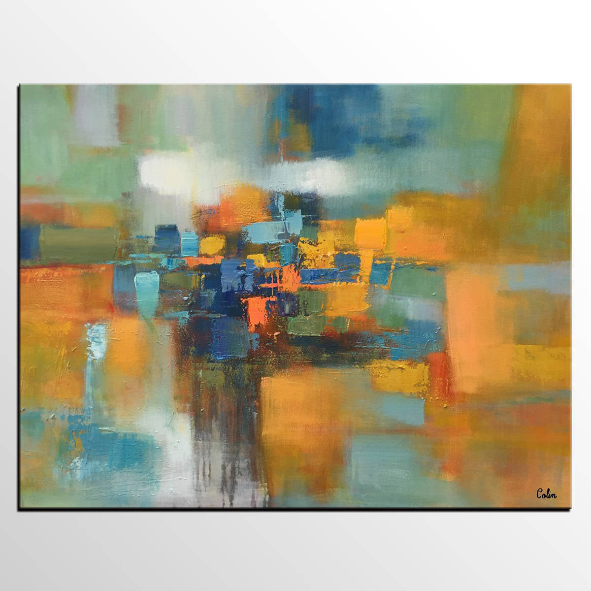 Abstract Painting, Living Room Wall Art, La...