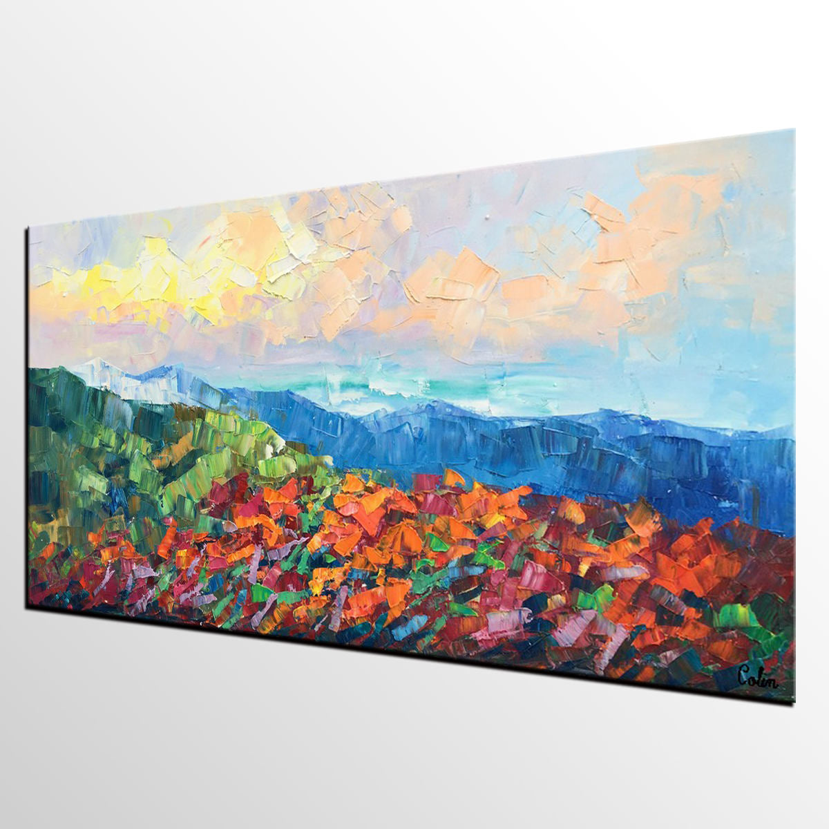 Autumn Mountain Painting, Canvas Painting for Bedroom, Contemporary Art