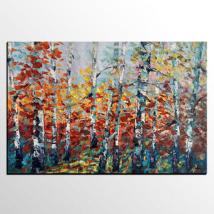 Large Art, Canvas Wall Art, Abstract Landscape Art, Birch Tree Artwork, Canvas Painting