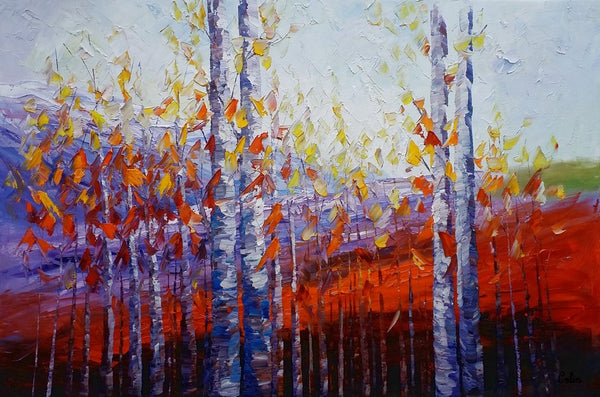 Large Canvas Art, Autumn Landscape Art, Birch Tree Artwork, Canvas Painting for Dining Room