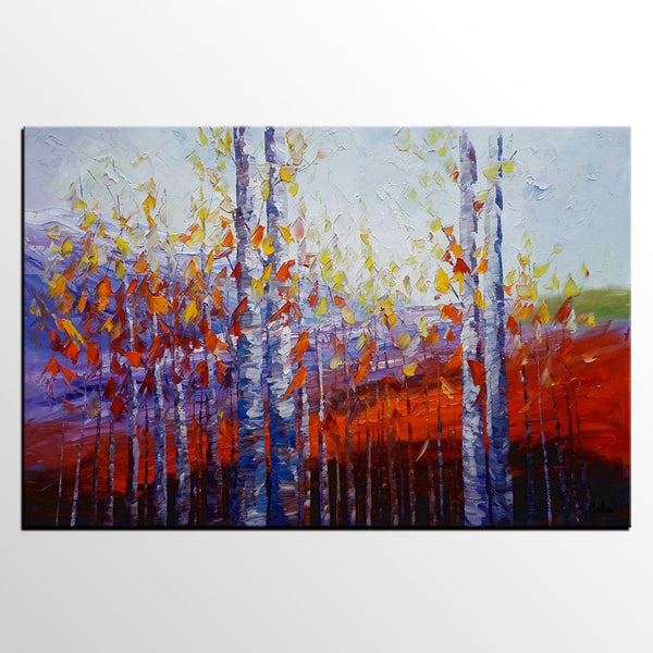 Large Canvas Art, Autumn Landscape Art, Birch Tree Artwork, Canvas Painting  For Dining