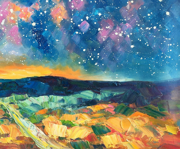 Starry Night Landscape Painting, Large Canvas Art Painting, Large Oil Painting