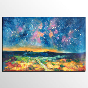 Starry Night Landscape Painting, Large Canvas Art Painting, Custom Large Oil Painting-artworkcanvas