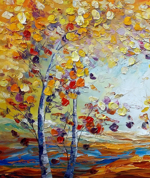 Heavy Texture Canvas Art, Autumn Tree Landscape Art, Custom Canvas Painting for Living Room-artworkcanvas