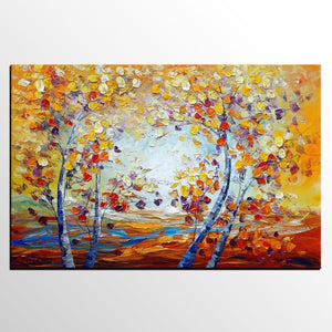 Heavy Texture Canvas Art, Autumn Tree Landscape Art, Canvas Painting for Living Room