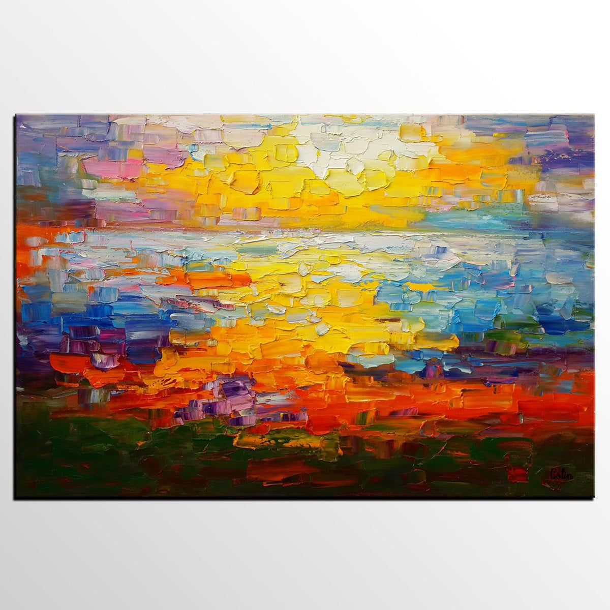 Large Canvas Art, Abstract Painting, Impast...