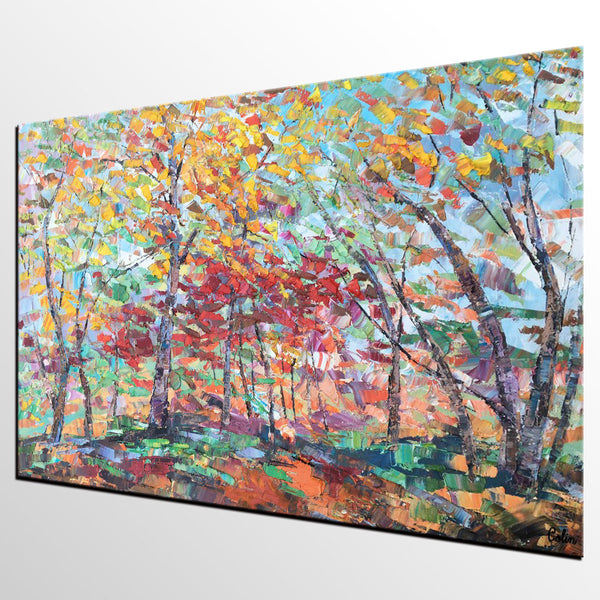 Canvas Wall Art, Birch Tree Painting, Landscape Art, Abstract Art Painting for Living Room
