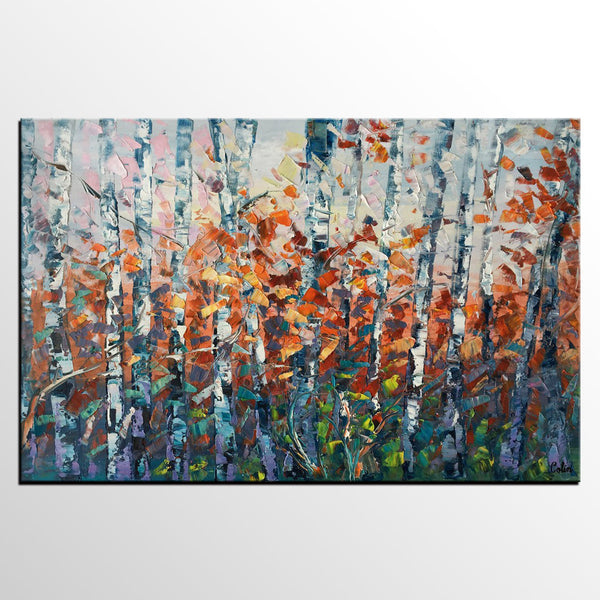 Canvas Art, Tree Landscape Art, Large Wall Art, Birch Tree Artwork, Canvas Painting