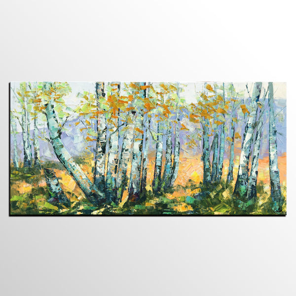 Dining Room Wall Art, Landscape Painting, Birch Tree Painting, Impasto Canvas Art