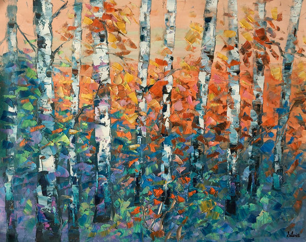 Large Oil Painting, Birch Tree Painting, Canvas Artwork, Canvas Painting for Bedroom
