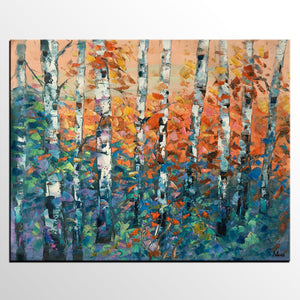 Birch Tree Painting, Large Oil Painting,  Custom Canvas Artwork, Canvas Painting for Bedroom - artworkcanvas