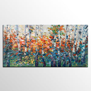 Wall Art for Kitchen, Birch Tree Painting, Impasto Art, Large Canvas Art