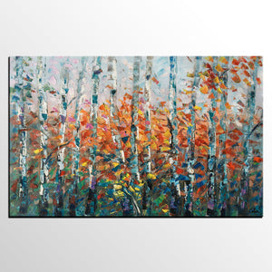 Tree Landscape Art, Large Wall Art, Birch Tree Painting, Custom Canvas Painting for Bedroom - artworkcanvas