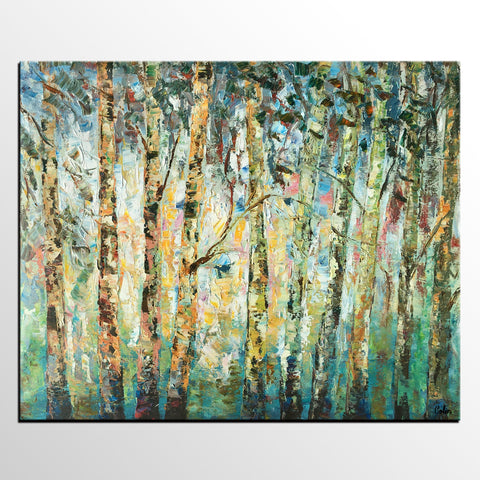 Abstract Landscape Art, Birch Tree Painting, Bedroom Wall Art, Contemporary  Art, Canvas