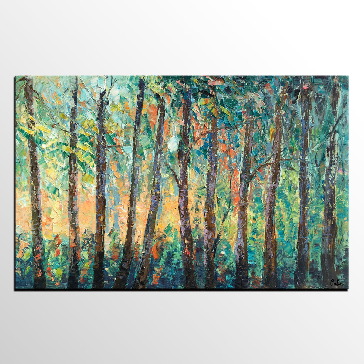 Landscape Painting, Large Canvas Art, Wall Art, Birch Tree Artwork, Canvas Painting, Original Oil Painting