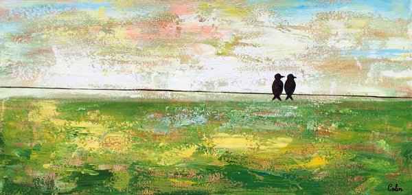 Abstract Painting, Original Wall Art, Canvas Art, Love Birds Painting