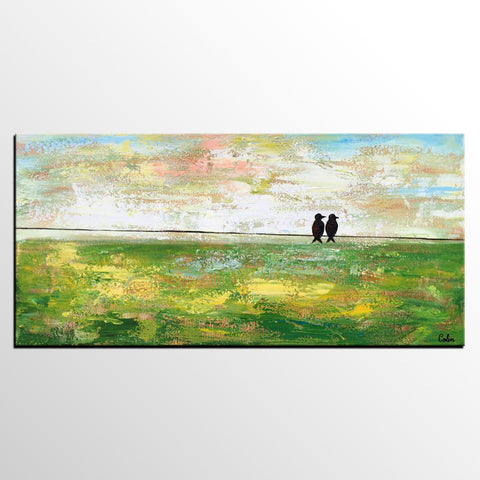 Abstract Painting, Original Wall Art, Canvas Art, Love Birds Painting - artworkcanvas