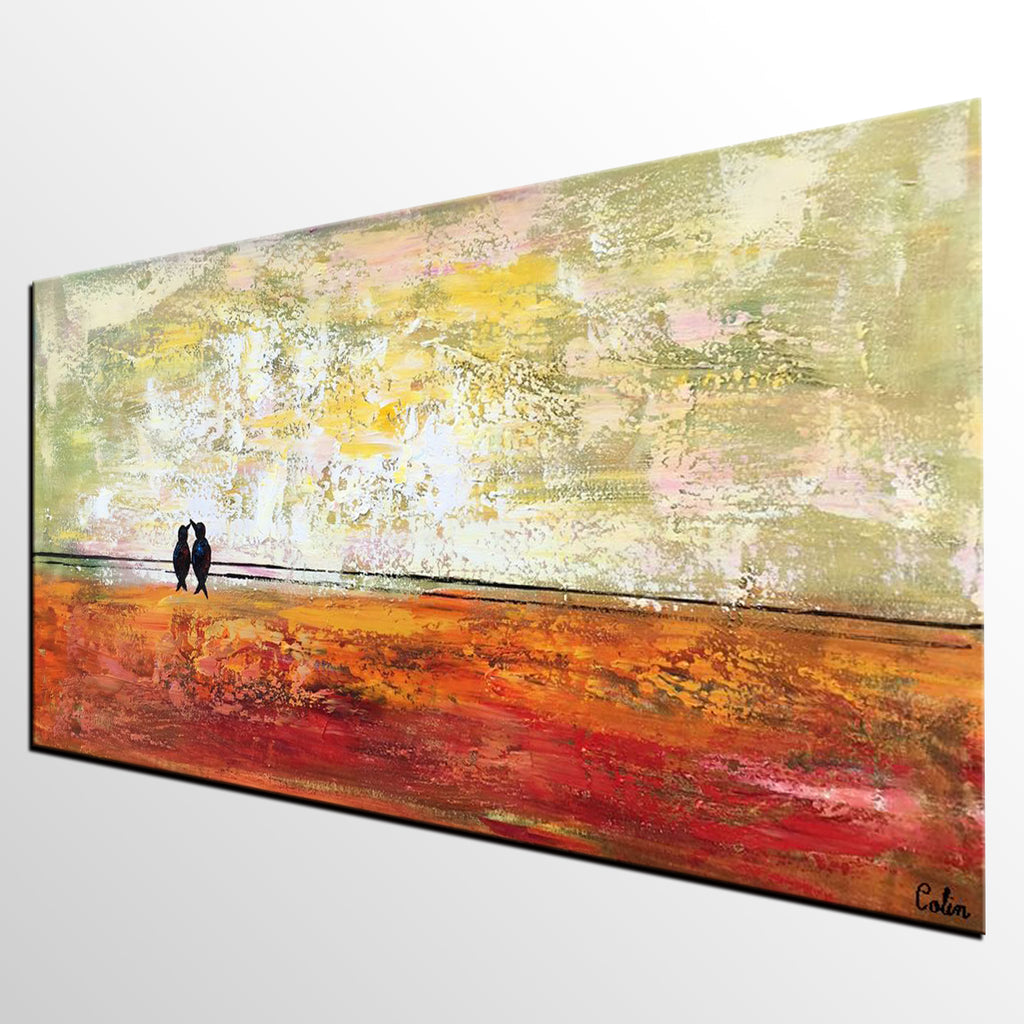 Bird at Wire Painting, Original Wall Art, Large Canvas Art, Wall ...
