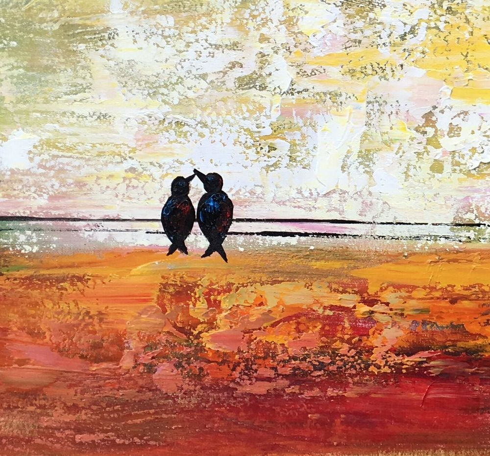 Bird at Wire Painting, Original Wall Art, Large Canvas Art, Wall Art, Original Artwork, Canvas Painting, Love Birds Painting