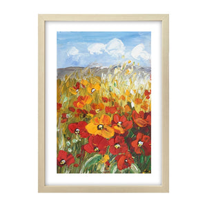 Heavy Texture Oil Painting, Red Poppy Field Painting, Small Painting, Abstract Painting - artworkcanvas