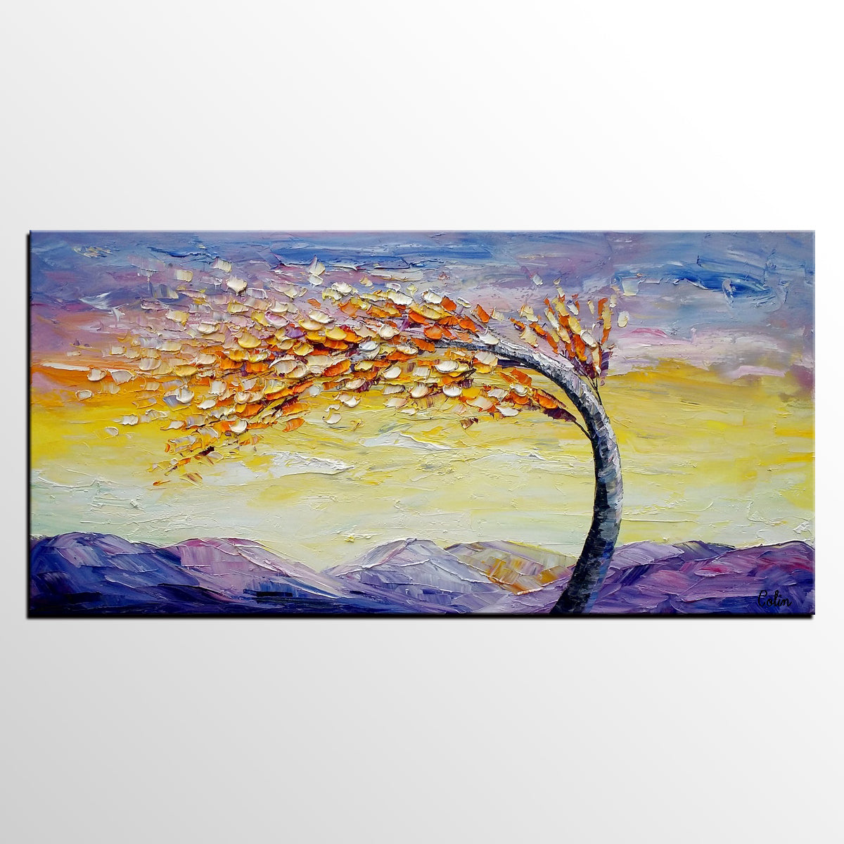 Heavy Texture Art, Landscape Art, Wall Art, Living Room Art, Canvas Wall Art, Abstract Art, Large Art, Abstract Painting, Tree Painting