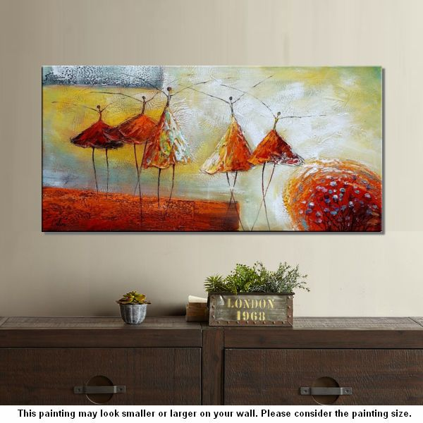 Modern art living room wall art abstract art ballet for Contemporary wall art for living room
