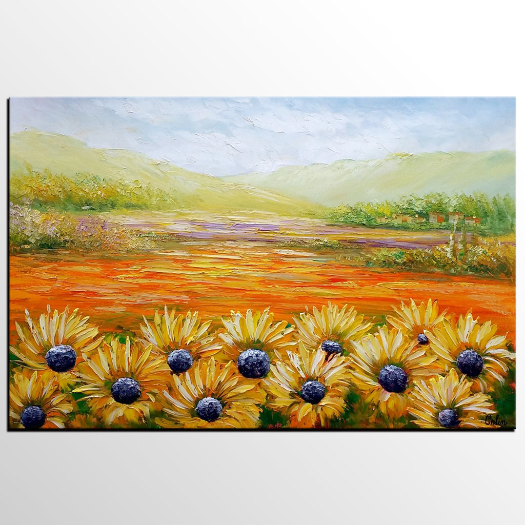 Landscape Painting, Sunflower Field Painting, Wall Art, Contemporary ...