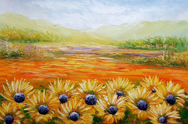 Landscape Painting, Sunflower Field Painting, Wall Art, Contemporary Art, Canvas Wall Art, Abstract Art, Large Wall Art, Original Painting