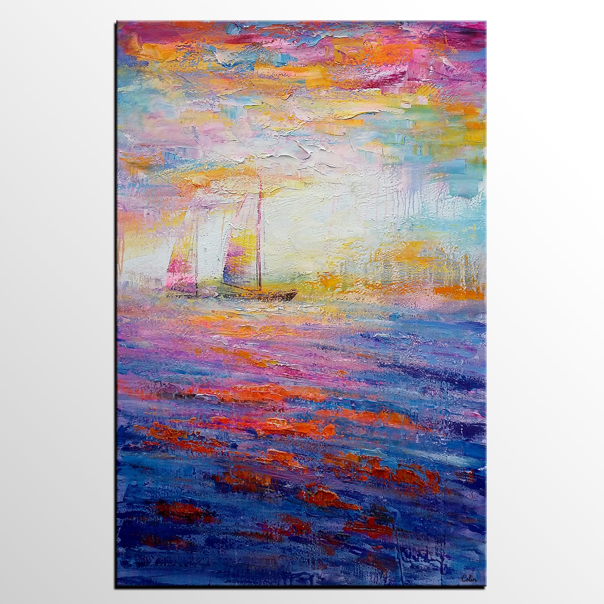 Large Painting, Canvas Painting, Sail Boat ...