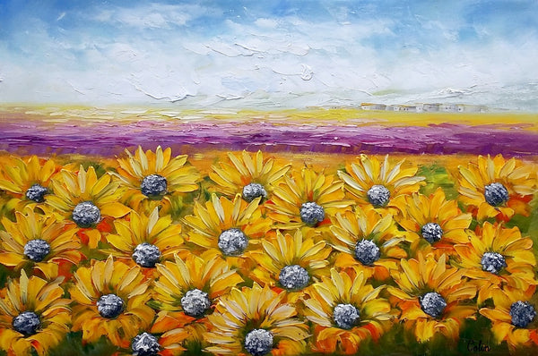 Canvas Wall Art, Landscape Painting, Sunflower Painting, Wall Art, Living Room Art, Abstract Art, Large Wall Art, Original Oil Painting