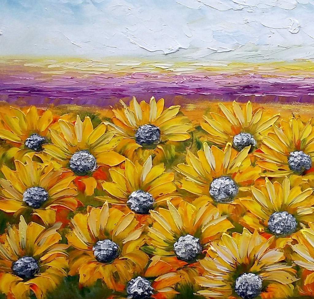 ... Canvas Wall Art, Landscape Painting, Sunflower Painting, Wall Art,  Living Room Art ...