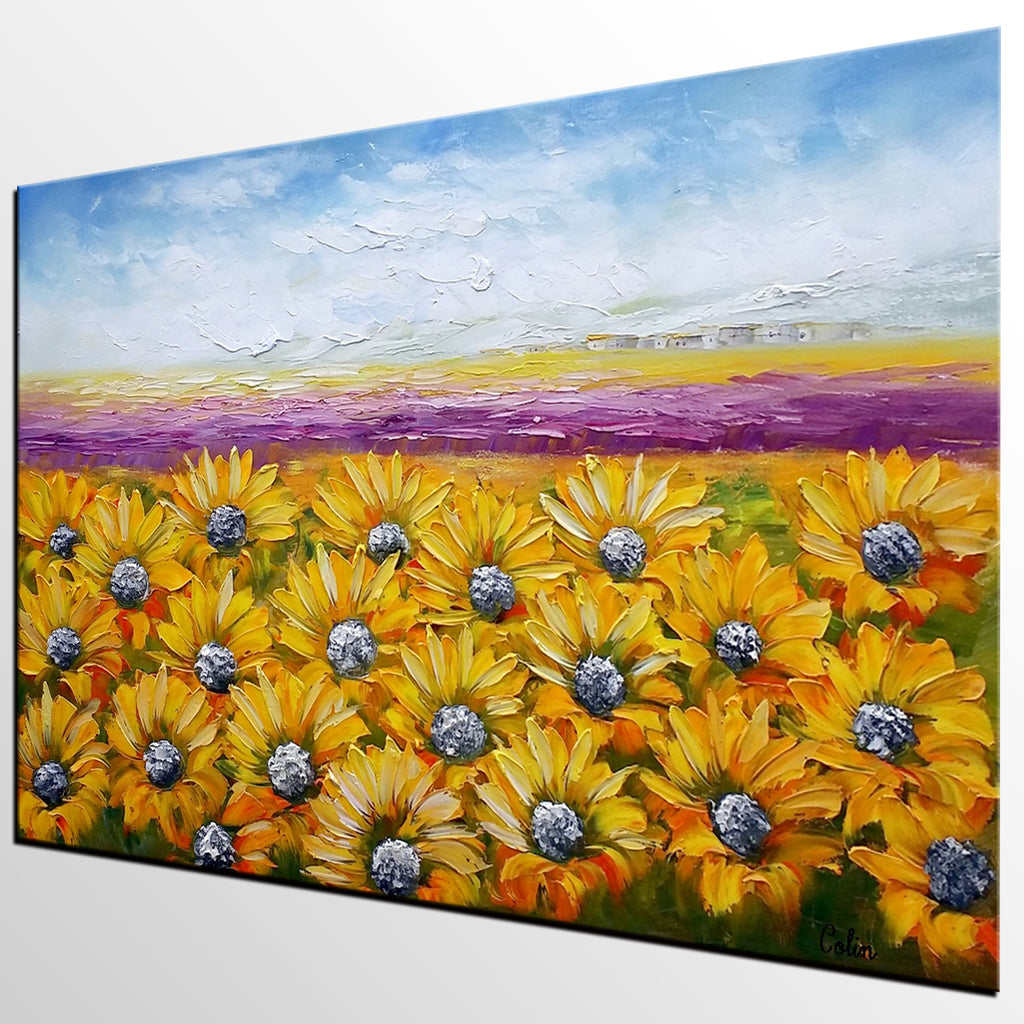 Canvas Wall Art, Landscape Painting, Sunflower Painting, Wall Art ...