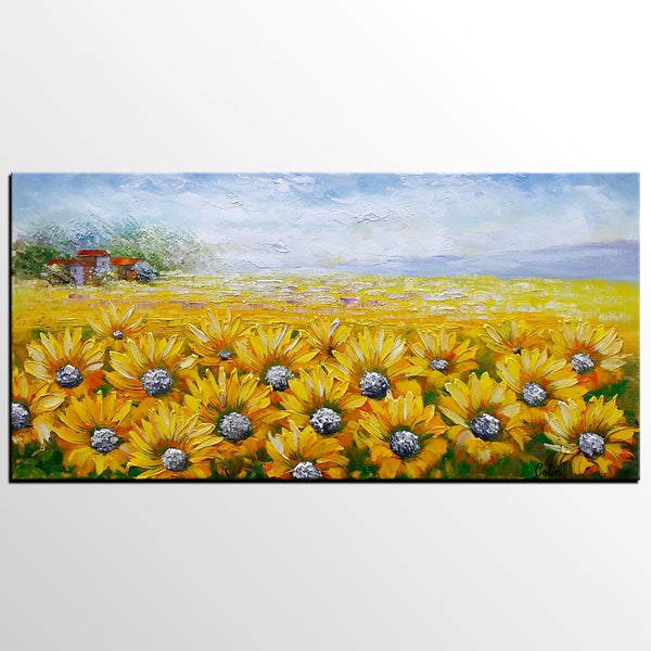 Large Wall Art, Heavy Texture Art, Canvas Painting, Landscape Painting, Sunflower Painting, Wall Art, Living Room Art, Abstract Art - artworkcanvas