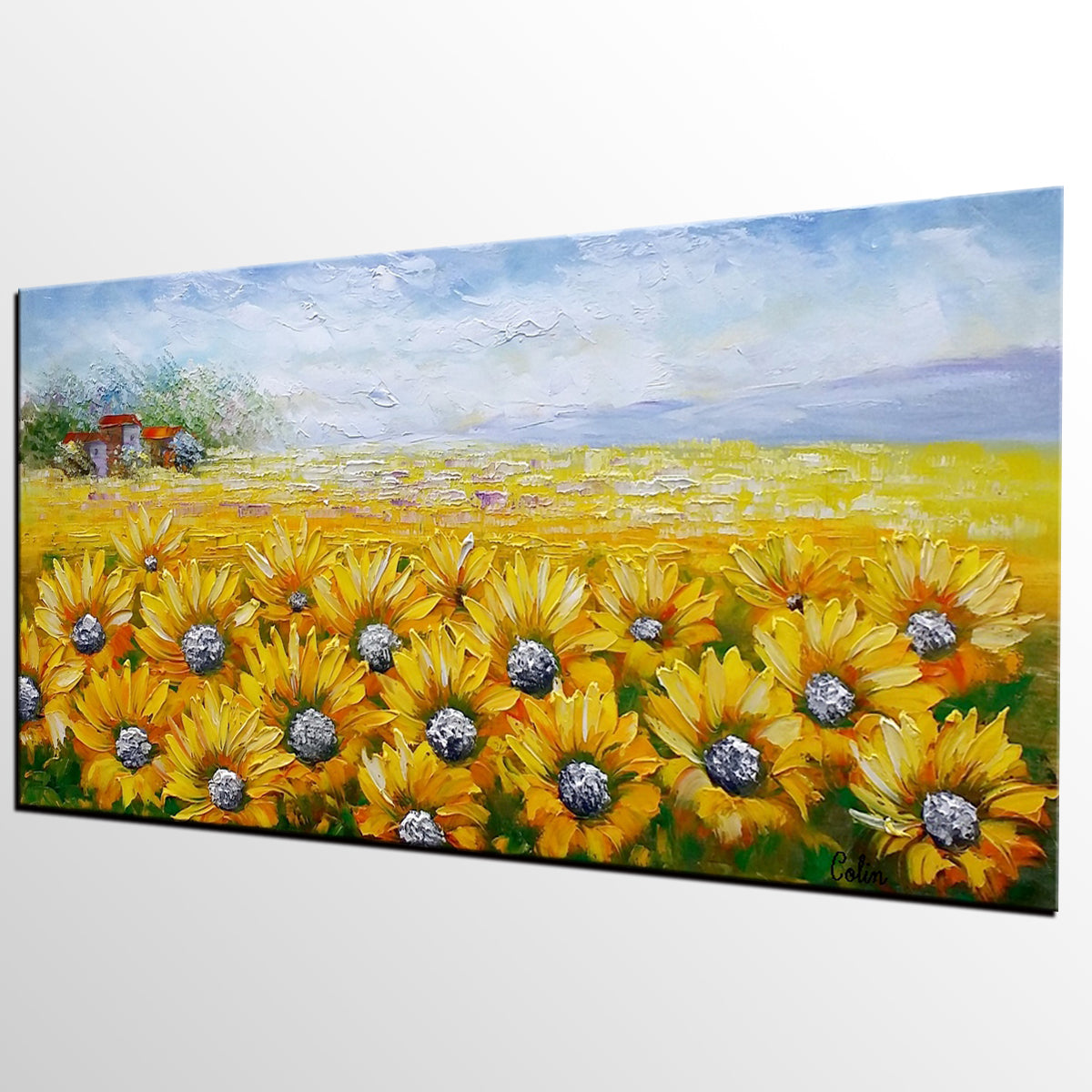 Large Wall Art, Heavy Texture Art, Canvas Painting, Landscape Painting, Sunflower Painting, Wall Art, Living Room Art, Abstract Art