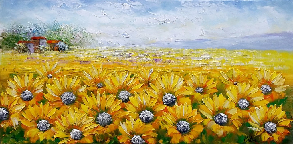 ... Large Wall Art, Heavy Texture Art, Canvas Painting, Landscape Painting,  Sunflower Painting ...