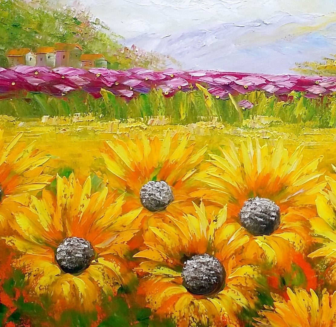 Canvas Oil Painting, Abstract Art, Large Art, Abstract Painting, Original Art, Sunflower Painting