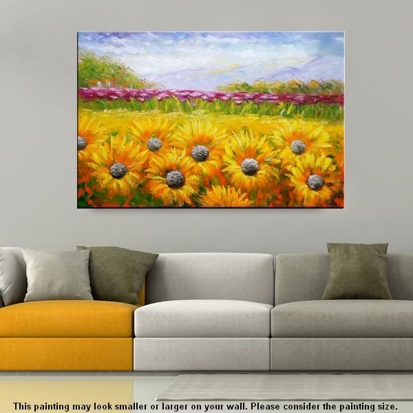 Canvas Oil Painting, Abstract Art, Large Art, Abstract Painting, Original Art, Sunflower Painting - artworkcanvas