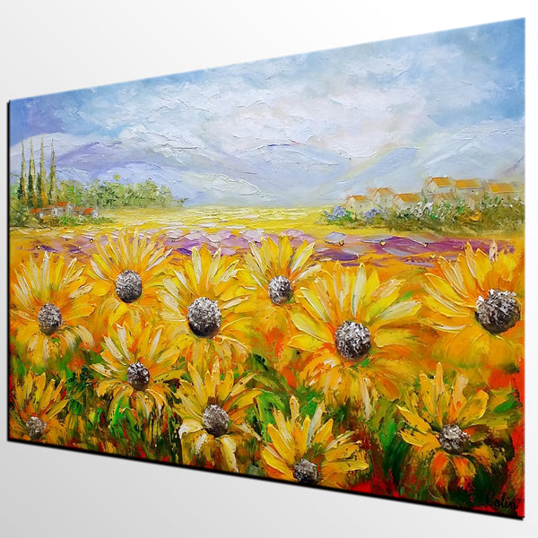 Canvas Oil Painting, Landscape Painting, Heavy Texture, Abstract Art, Abstract Art, Large Art, Abstract Painting, Original Art, Sunflower Painting - artworkcanvas