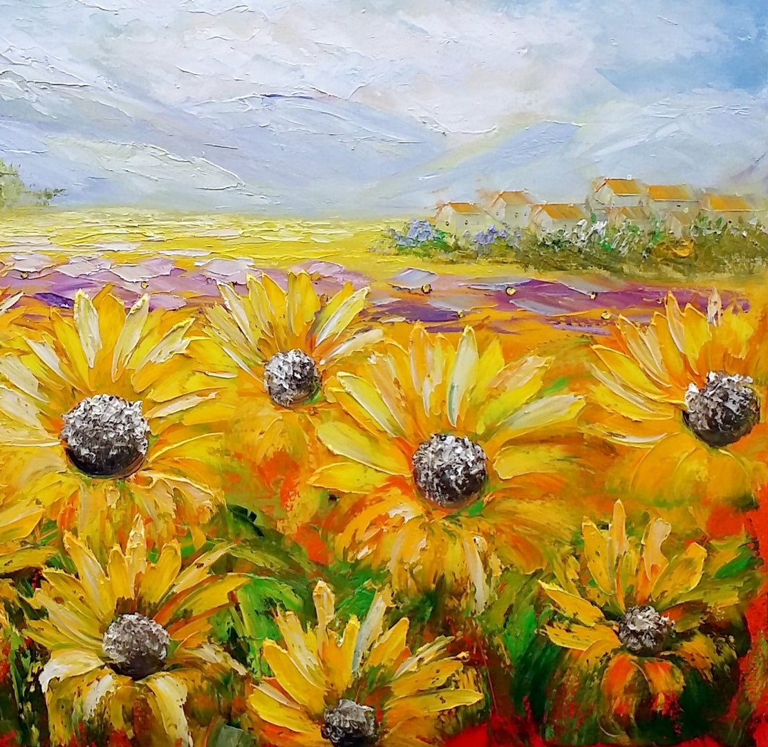 Canvas Oil Painting, Landscape Painting, Heavy Texture, Abstract Art, Abstract Art, Large Art, Abstract Painting, Original Art, Sunflower Painting