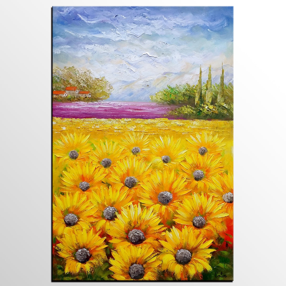 Heavy Texture Art, Abstract Art, Abstract Painting, Canvas Oil Painting, Landscape Painting, Large Art, Original Art, Sunflower Painting
