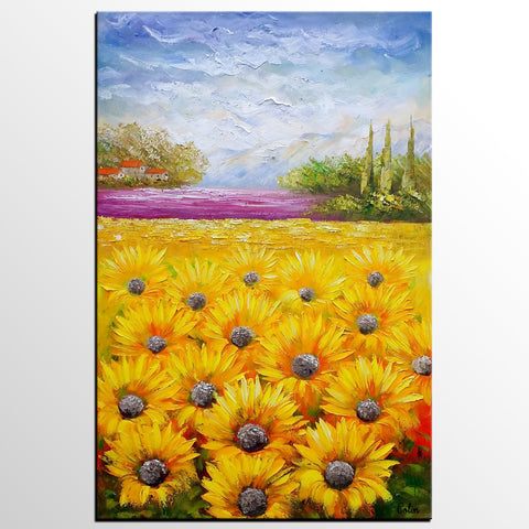 Heavy Texture Art, Abstract Art, Abstract Painting, Canvas Oil Painting, Landscape Painting, Large Art, Original Art, Sunflower Painting - artworkcanvas